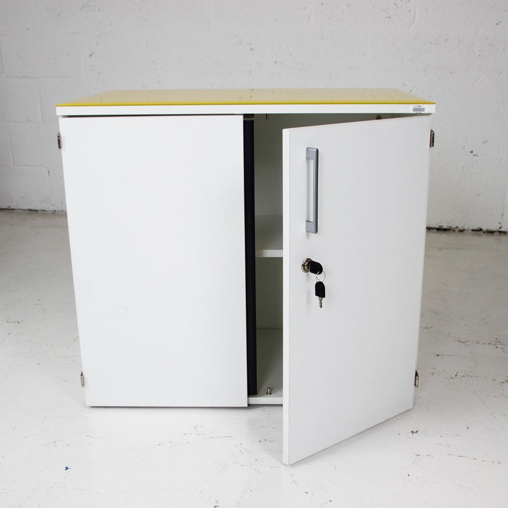 White Lockable Double Doored Cupboard With Yellow Gloss